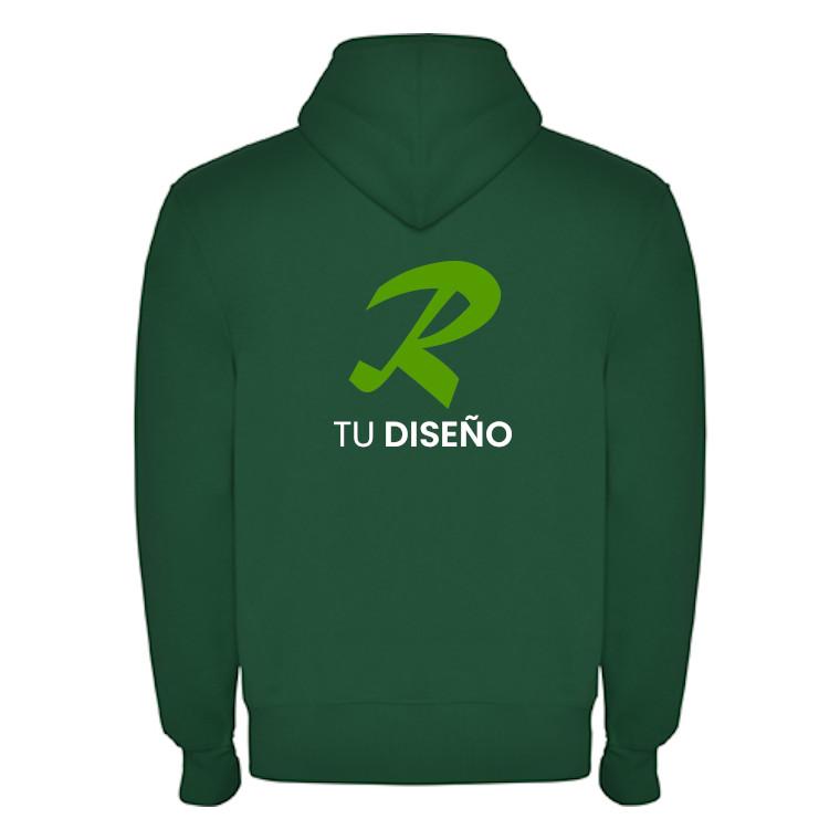 sudadera capucha verde trasera